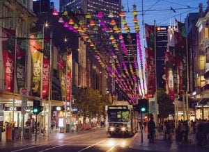 Christmas lights in city