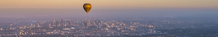 Valentine's Day Activity Hot Air Balloon over Melbourne CBD